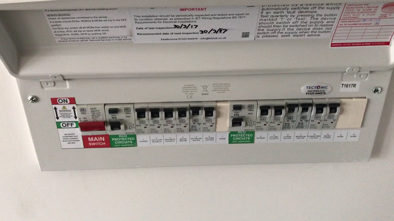 How To Reset An RCD On An MK Centry Fuse Board - Tectonic - YouTubeYouTube