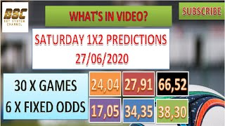 Saturday 27/06 - 1x2 Betting Football Predictions - Soccer Tips -fixed Odds - Betting Systems