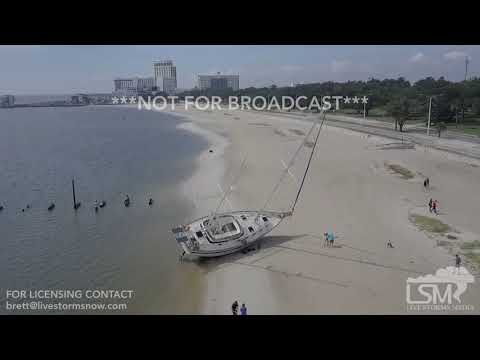 10-08-2017 Biloxi, MS Aerial Drone footage beached ships and empty marinas - Hurricane Nate