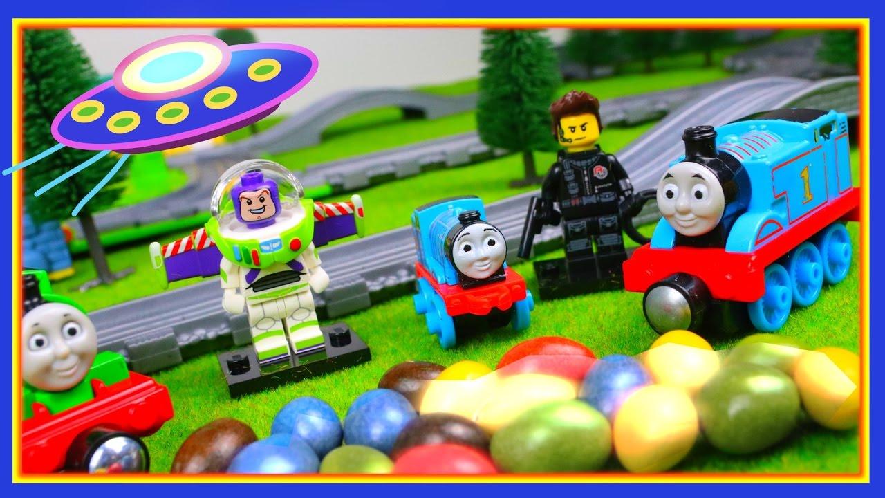 Trains for children video Thomas & friends Toy Cartoon UFO & surprise toys Mini Thomas Lego