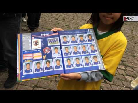 Trading football cards in Brazil