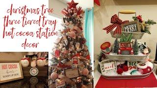 Christmas Tree, Three Tiered Tray & Hot Cocoa Station Decor