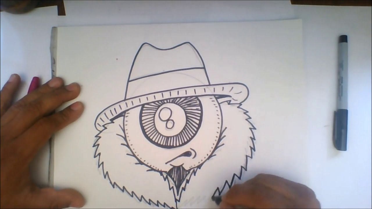 Drawing One Eye Gangsta Cartoon Character Speed Drawing Youtube