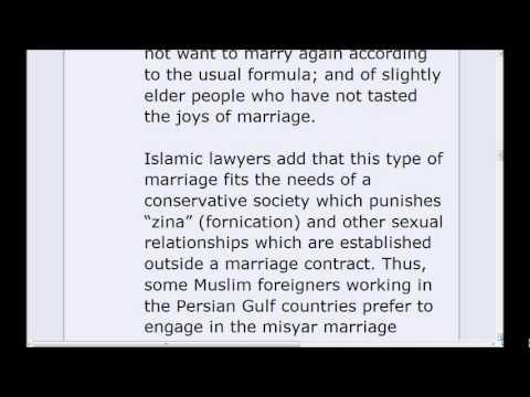 Mutah & Misyar or Temporary Marriage in Islam