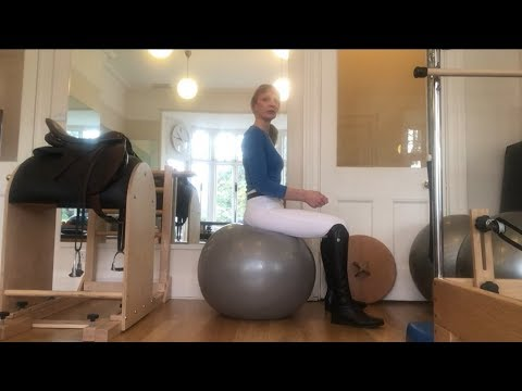 Equestrian Pilates video 4: Rider exercises in walk trot and canter on the gym ball.