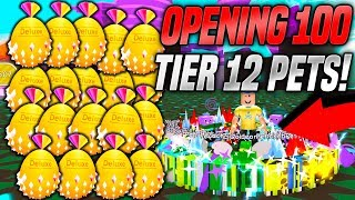 OPENING 100 TIER 12 PETS IN PET SIMULATOR!! *RAREST* (Roblox)
