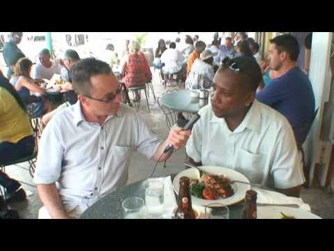 Sampling food in Bridgetown, Barbados