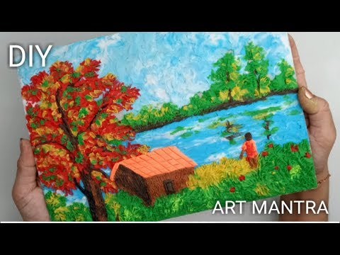 Landscape painting with clay | landscape painting | painting tutorial by ART MANTRA