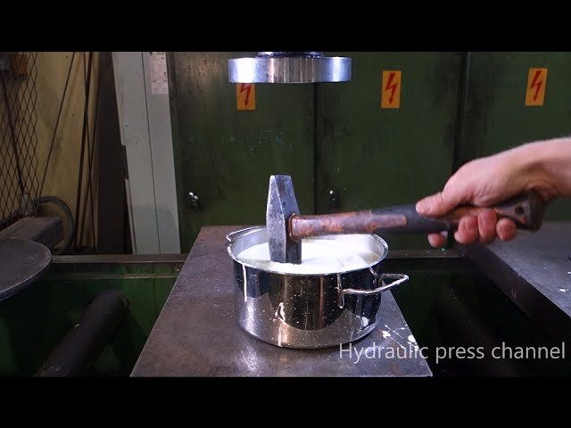 Crushing non-newtonian fluid with hydraulic press