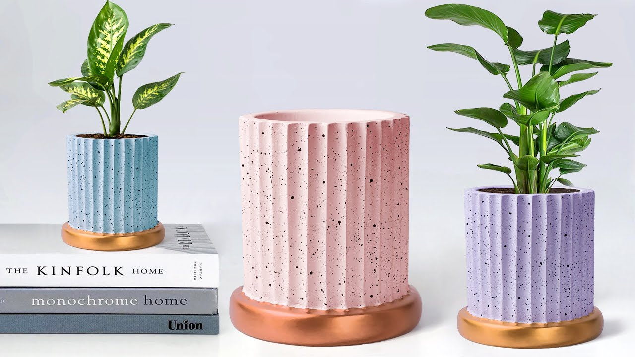 Paper mold flower pot making with cement || Easy Cement tree pot || ट्री पॉट बनाना