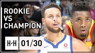 Stephen Curry vs Donovan Mitchell Duel Highlights 2018.01.30 Jazz vs Warriors - Rookie vs Champion
