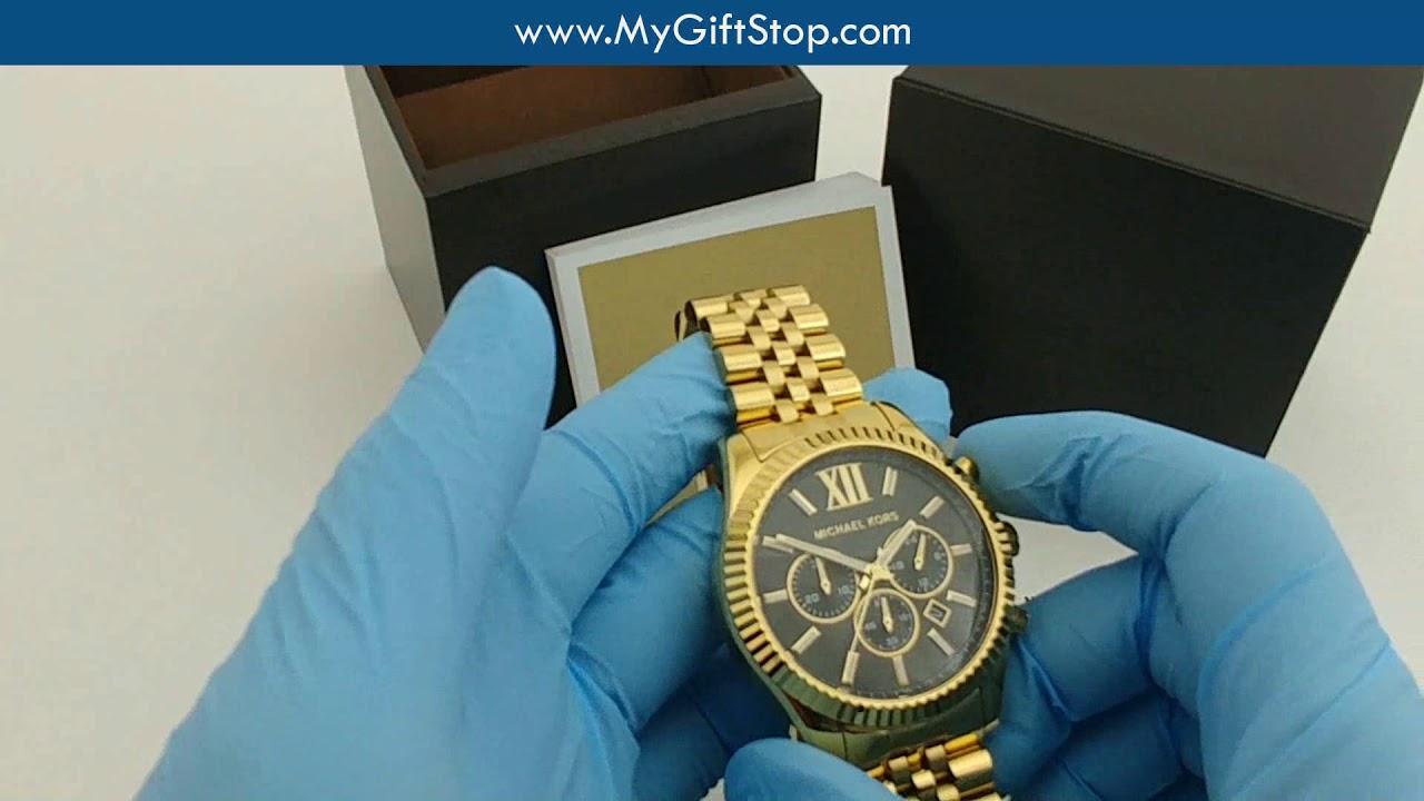 video Men's Gold-Tone Lexington Chronograph Watch MK8494