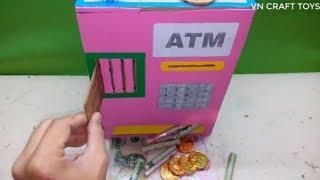 Handmade: cách làm MÁY RÚT TIỀN ATM đơn giản (make a cardboard ATM machine)