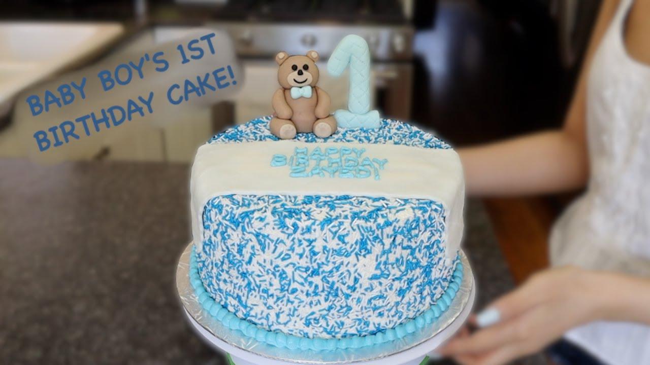 Baby S First Birthday Cake Sprinkles Cake Fondant Teddy Bear Youtube