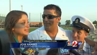 Navy dad surprises daughter at Ocala high school graduation