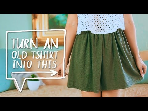 DIY CLOTHES HACK   Transform a TSHIRT into a SKIRT!   Easy Sewing Project✨Alejandra's Styles