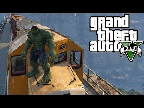 ХАЛК ПРОТИВ ПОЕЗДА! ГТА 5 Халк остановил Поезд! Gta 5 mod Hulk vs train!