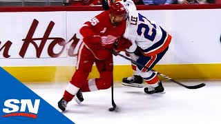 Niklas Kronwall Hits Anders Lee At Full Force Making Contact With Head