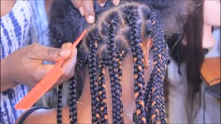 how to big box braids tutorial