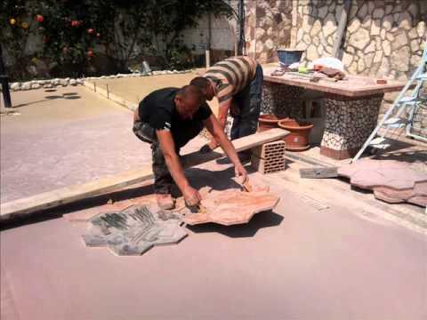 Cemento stampato 3385789554 0681107380 30 00 al mq youtube - Vialetto giardino fai da te ...