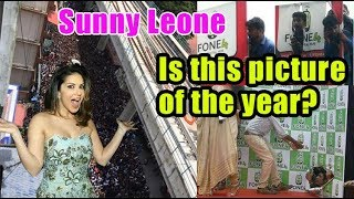 Sunny Leone's car in this sea of fans in Kochi