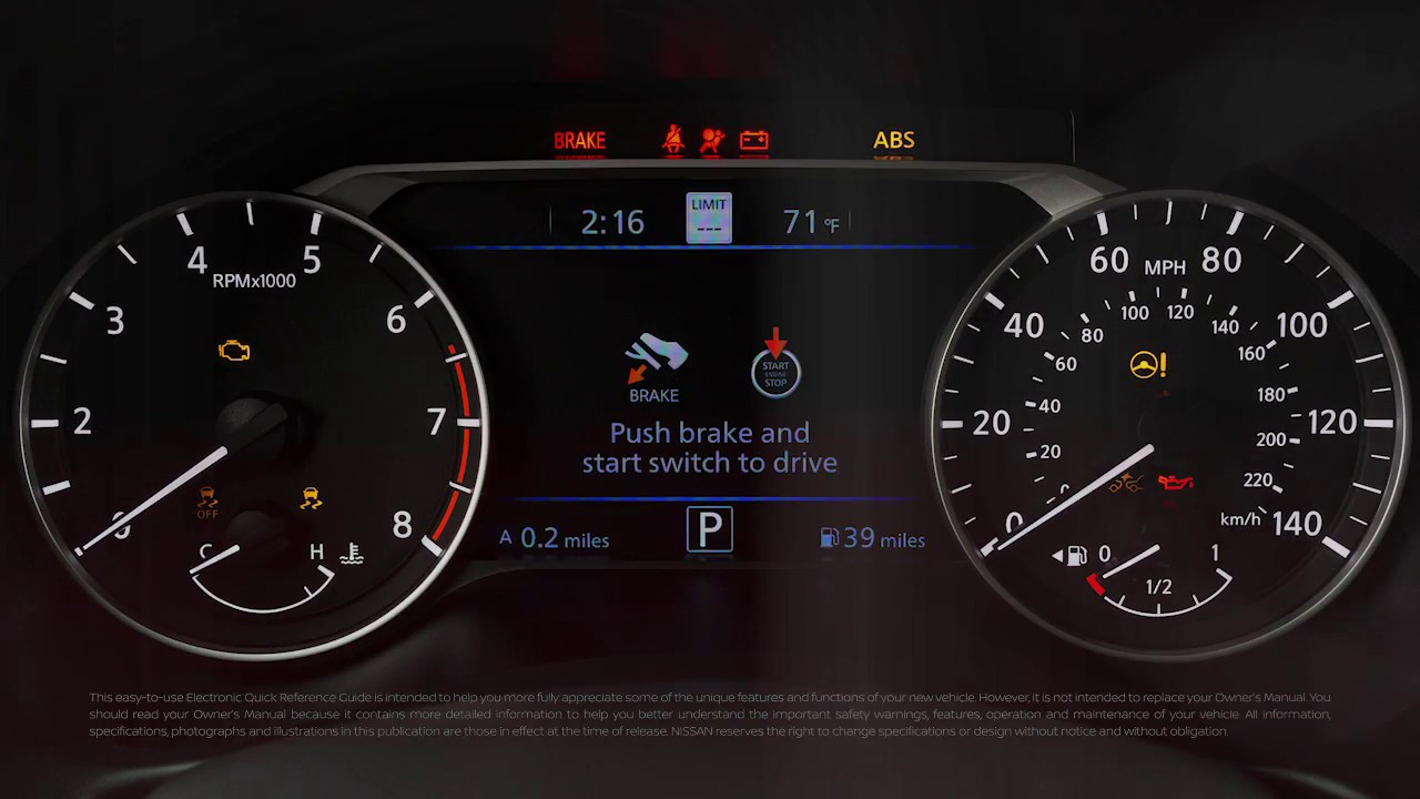 2019 Nissan Altima Warning And Indicator Lights Youtube
