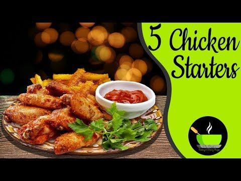 5 Easy Chicken Starters | Indian Non-Veg Recipes | Simple Chicken Starter Recipes | Party Food
