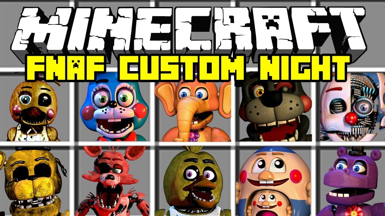 Minecraft FNAF Ultimate Custom Night Mod | Spawn ALL FNAF Animatronics |  Modded Minigame