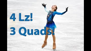 Alexandra Trusova FS - 3 QUADS and QUAD LUTZ - Novogorsk Junior Test skates 2018-19