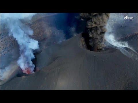 شاهد: صور جوية تًظهر قوة ثوران بركان كومبري فييخا في لا بالما وحجم دماره