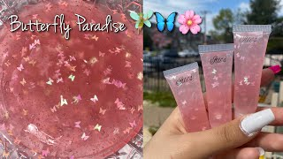 HOW TO MAKE LIGHT PINK BUTTERFLY LIPGLOSS 😍🦋🌸