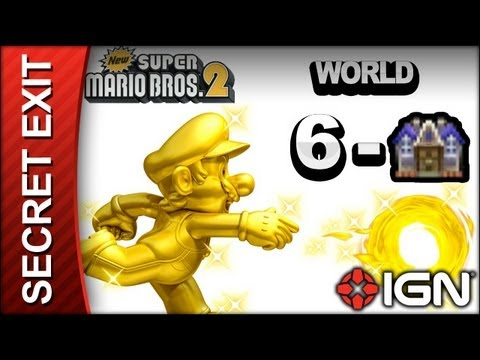 New Super Mario Bros. 2 - Secret Exit Guide - World 6-Haunted House - Walkthrough