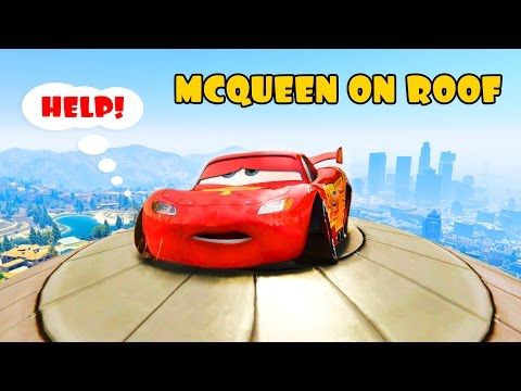 Thumbnail: LGHTNING McQueen trapped on the Roof! Hulk and Spiderman saves him Cartoon for kids