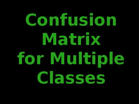 Evaluating Classifiers: Confusion Matrix for Multiple Classes