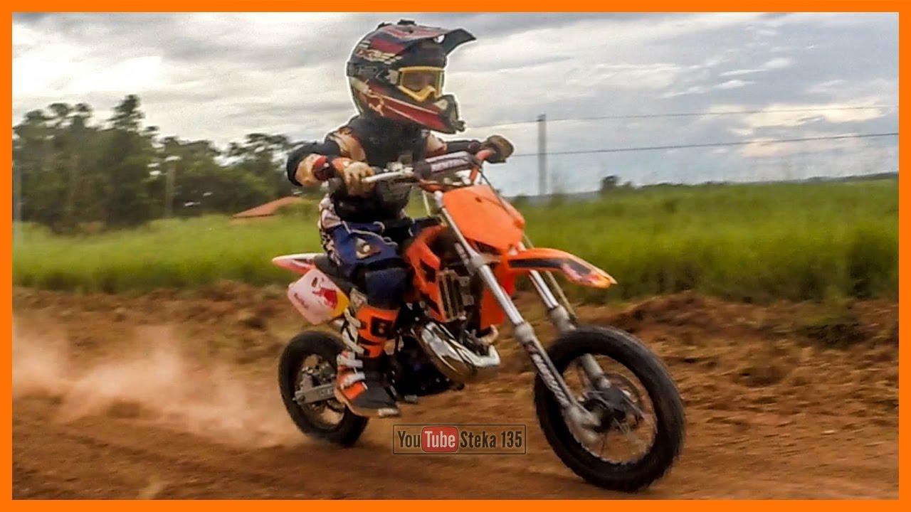 Mini moto a gasolina de trilha ou motocross ktm 50 sx treinando pra corrida em 2017 youtube - Image de moto ktm ...