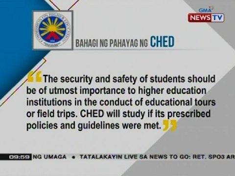NTG: Bahagi ng pahayag ng CHED kaugnay ng aksidente sa Tanay, Rizal