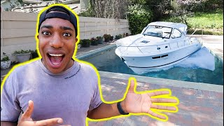I PUT A BOAT IN OUR POOL FOR APRIL FOOLS