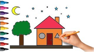 How to draw a house and a moon coloring pages Youtube videos for teaching children