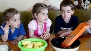 Детины Папы - Готовим картофель, запеченный в духовке со сливками, сыром и чесноком.