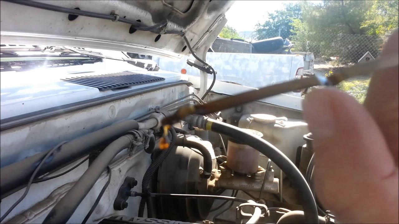 how to check and add oil on a 1995 nissan pickup truck 1989 2000 rh youtube com Nissan Hardbody Truck Manual Trans Nissan Hardbody Performance
