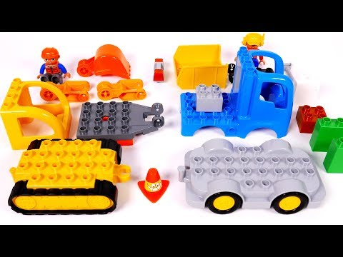 Building Excavator and Dump Truck with Blocks Lego Duplo for Children Toy Playset