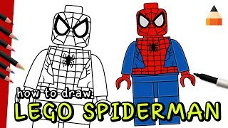 How To Draw LEGO Spiderman | How To Draw Lego Minifigures