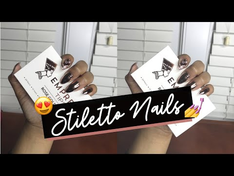 Empress Tips - Rose Gold Stiletto Nails   Unboxing + DEMO