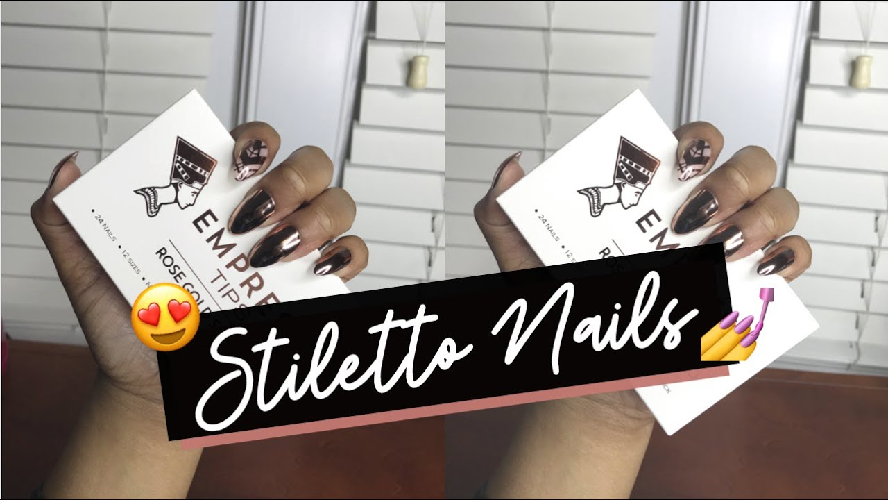 Empress Tips Rose Gold Stiletto Nails Unboxing Demo