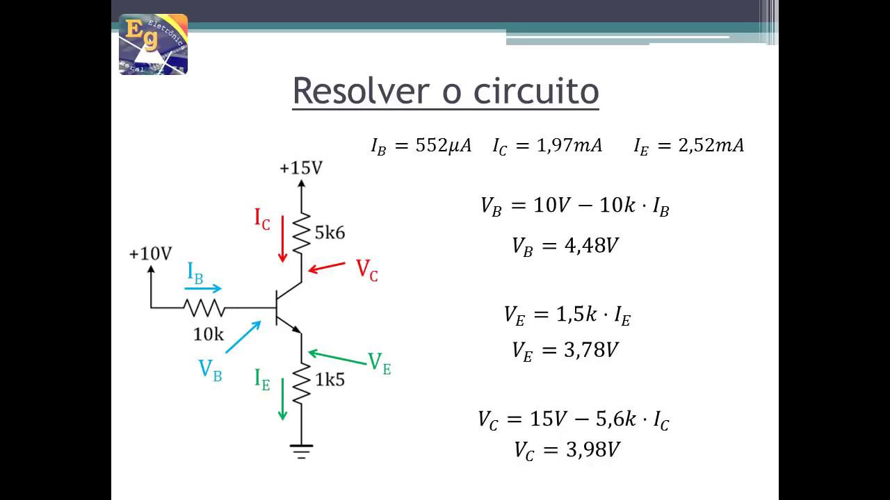 Circuito Cc : Transistores exercício análise cc circuito saturado youtube