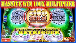 MASSIVE WIN 100x MULTIPLIER BONUS RETRIGGER - DESTINY OF ATHENA SUPER FREE GAMES