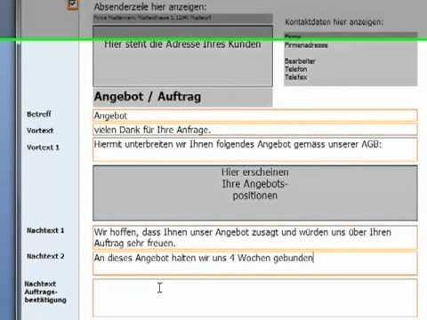 Angebote Grundeinstellungen Angebotsvorlagen für Rechnungsprofi