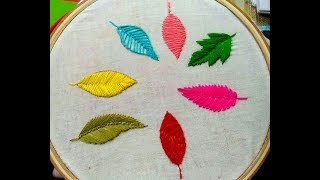 Hand Embroidery ,Easy 8 type of leaf embroidery tutorial,Filling leaf