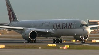 First Qatar AIRBUS A350 landing/take off FRANKFURT | first commercial flight 15th jan 2015
