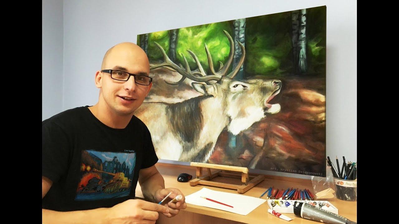 Maluje obraz Jeleń na rykowisku